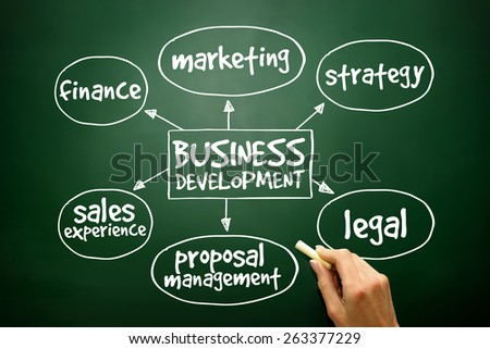 Business development mind map, business concept on blackboard - stock photo