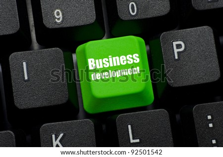 business development word on green and black keyboard button - stock photo