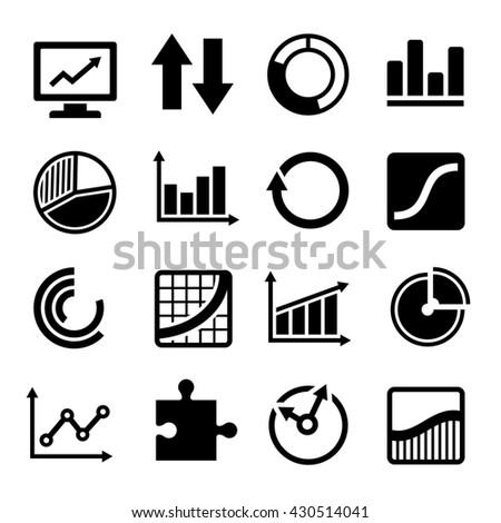 Business Diagram and Infographic Icons Set on White Background - stock photo