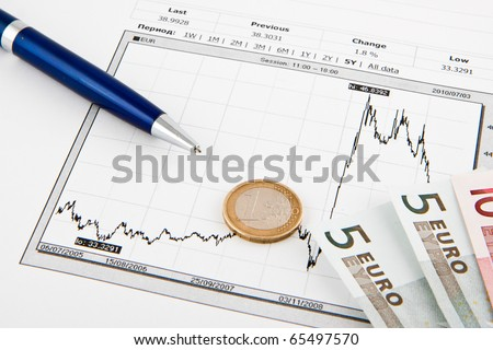 Business diagram on financial report with euros - stock photo