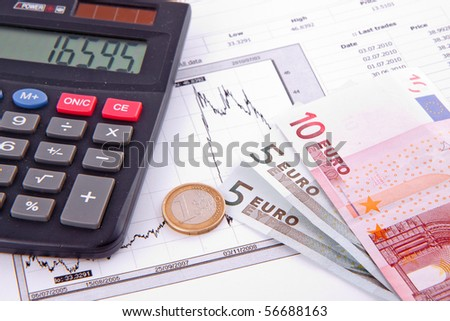 Business diagram on financial report with money - stock photo