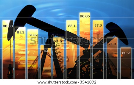Business  diagram shows change of the prices for oil - stock photo
