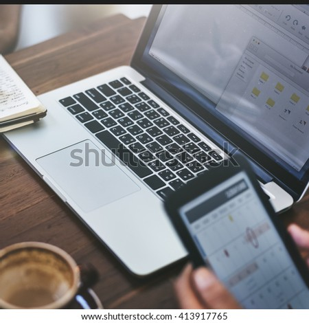 Business Digital Devices Connecting Concept - stock photo