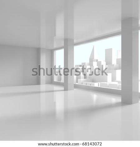 Business District - 3d illustration - stock photo