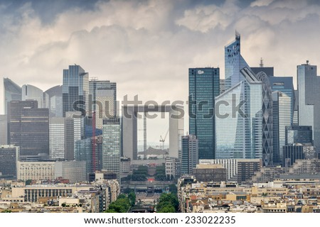 Business district of Paris. La Defense, aerial view on a cloudy day. - stock photo