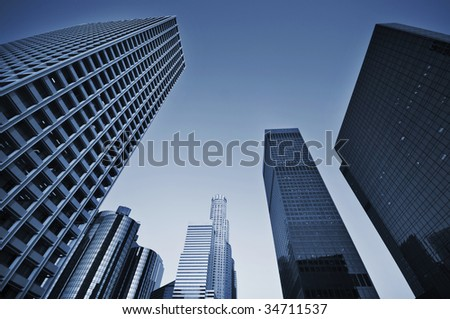 Business district skyline - stock photo
