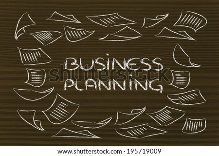 business documents flying around, metaphor of the need for planning or organization