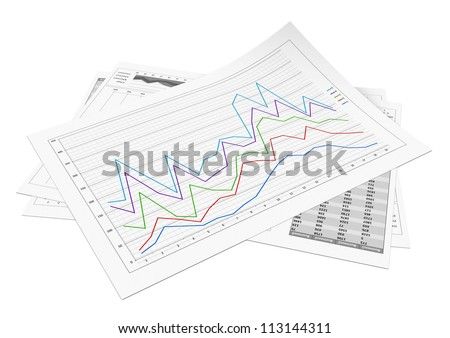 Business documents with several graphic over white background - stock photo