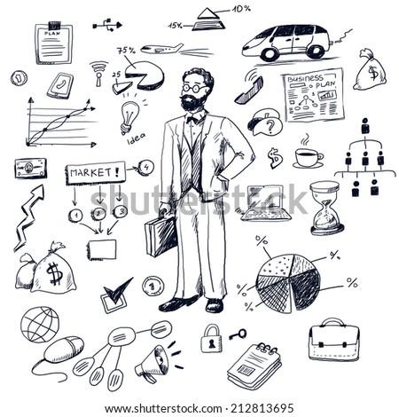 Business doodles - stock photo