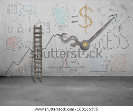 Business doodles and clock hands on wall with wooden ladder - stock photo