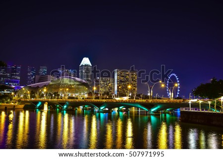 Business downtown and city landscape of Singapore at twilight scene.