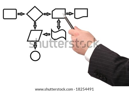 Business  drawing a black process diagram - stock photo