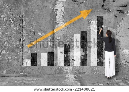 Business Drawing Graph On Wall Creativity Concept - stock photo