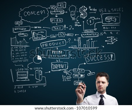 business drawing plan strategy success - stock photo