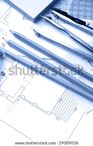 Business drawings on worker place
