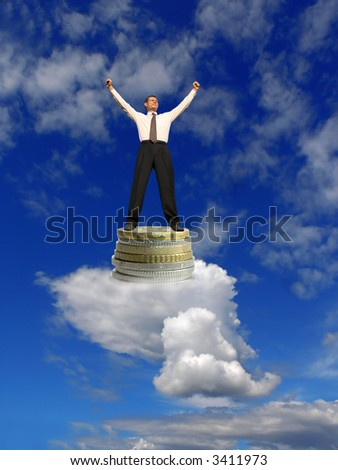 Business dream. Businessmen on clouds with success. Dream come true ! - stock photo