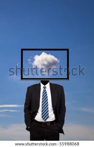 business dreamer with computer monitor head - stock photo