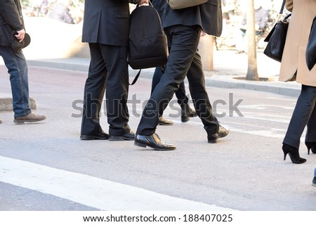 Business dressed men on zebra crossing