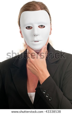 Business dressed woman in mask isolated on white - stock photo
