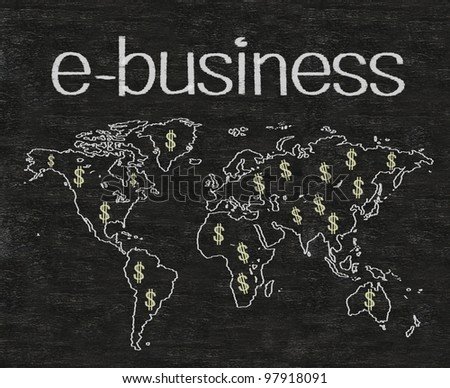 business e business written on blackboard with earth sign