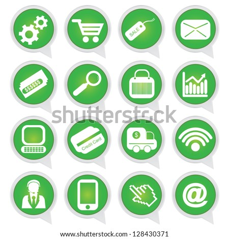 Business E-Commerce and Online Shopping Concept Present By Online Shopping Sign on Green Icon Set Isolated on White Background - stock photo