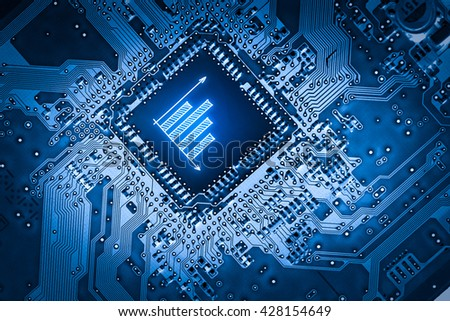 Business e-commerce icon on motherboard