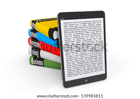 Business E-library concept. Tablet PC with books on a white background - stock photo