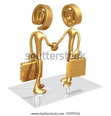Business E-Mail E-Commerce Handshake - stock photo