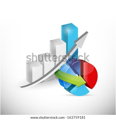 business economy graph and pie chart concept illustration design over white