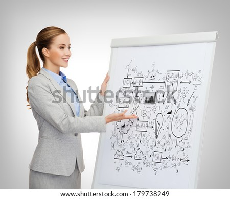 business, education and office concept - smiling businesswoman standing next to flip board and pointing hand at big plan - stock photo