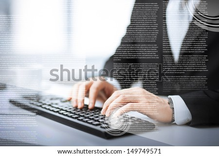 business, education and technology concept - man hands typing on keyboard - stock photo