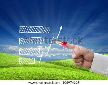 business education by business hand with red pencil tip of index over nature background. - stock photo