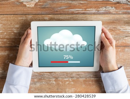 business, education, cloud computing, people and technology concept - close up of female hands with tablet pc computer transferring data - stock photo