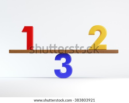 Business, education or sports competition concept with numbers 1, 2 and 3 on a teeterboard isolated on white. - stock photo