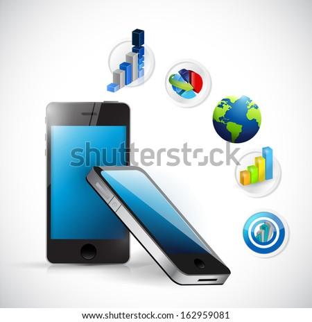 business electronic concept illustration design over white