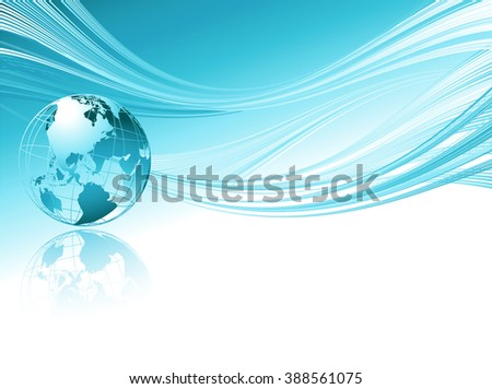 Business elegant abstract background with globe. Blue wave/ Blue business background. Transparent blue globe - stock photo