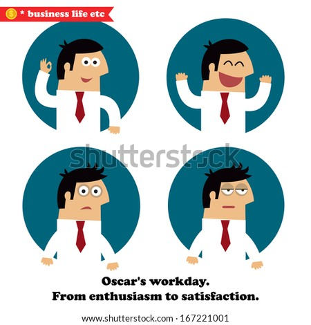 Business emotions set of enthusiasm, joy, frustration and fatigue illustration - stock photo