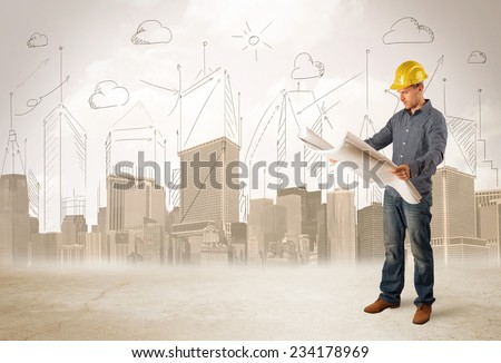 Business engineer planing at construction site with city background concept - stock photo