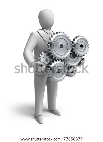 Business engineering in progress. Isolated 3D concept - stock photo