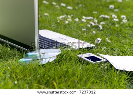 Business equipment on the grass