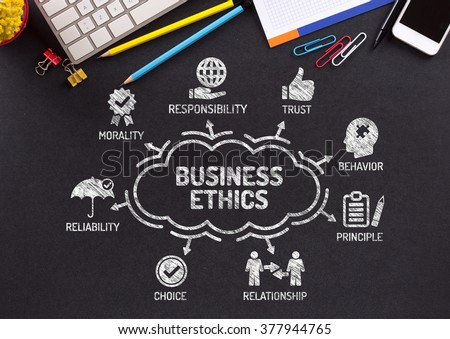 Business Ethics. Chart with keywords and icons on blackboard - stock photo