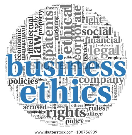 Business ethics concept related words in tag cloud on white - stock photo