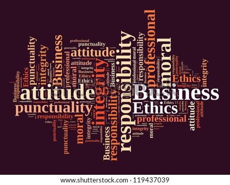 Business ethics in word cloud - stock photo