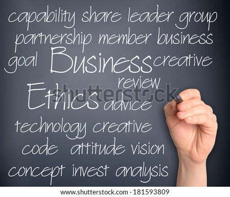 business ethics word cloud handwritten on pale blue background