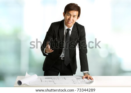 Business executive doing a presentation - stock photo