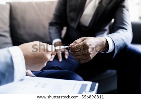 Business executive exchanging business card stock photo image business executive exchanging business card colourmoves