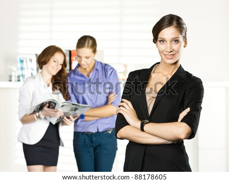 business executive in a meeting with colleagues v - stock photo