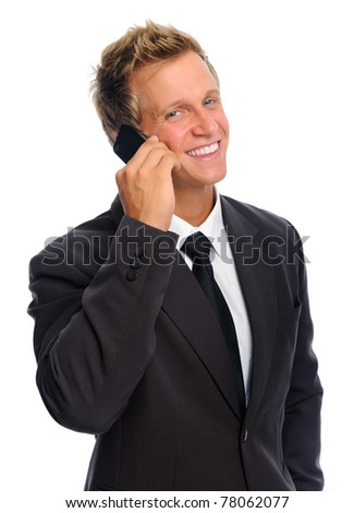Business executive talking on his mobile phone - stock photo