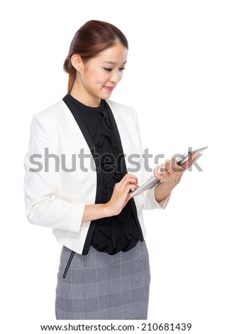 Business executive use digital tablet - stock photo