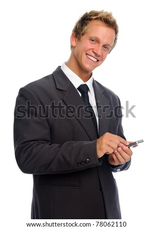 Business executive with his cell phone - stock photo